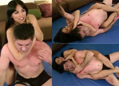 Rear naked choke girl